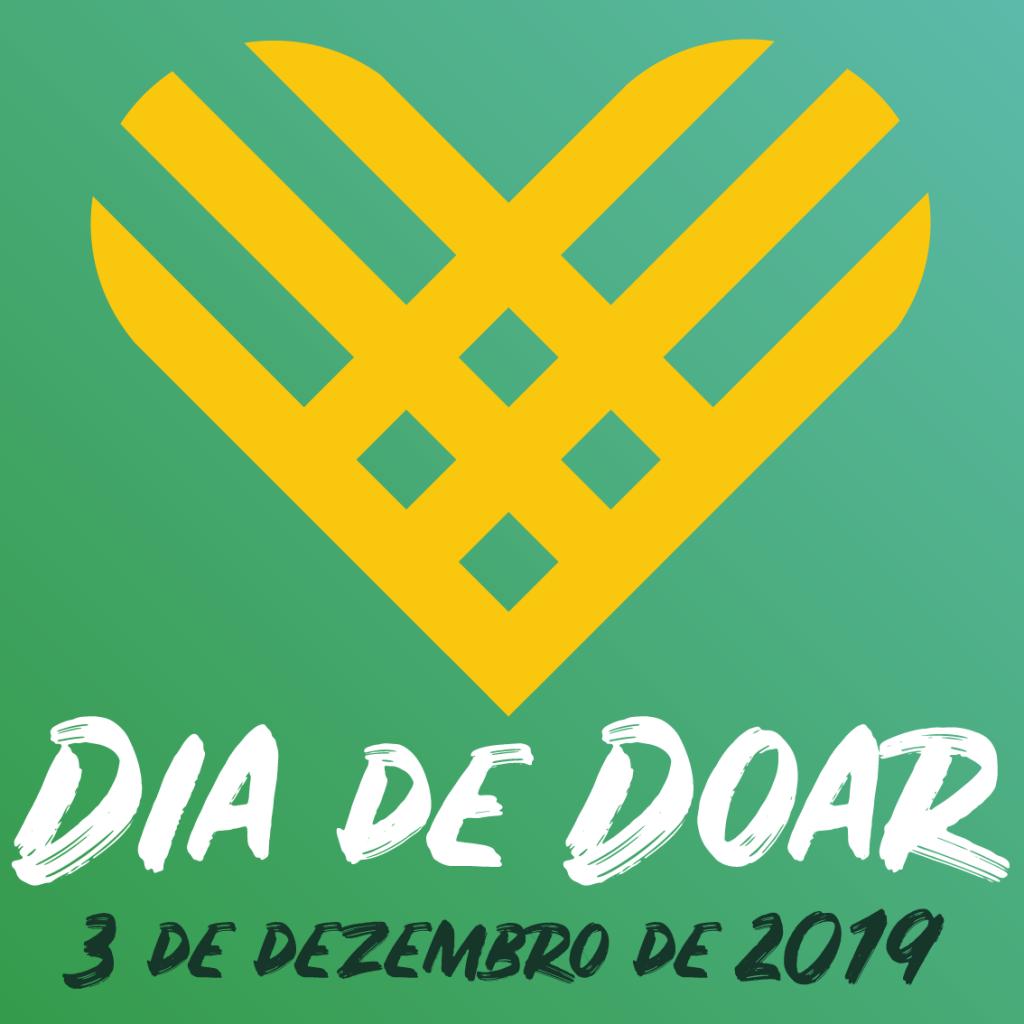 Imagem com o fundo verde e um coração em amarelo. Na figura, está escrito: Dia de Doar 3 de dezembro de 2019